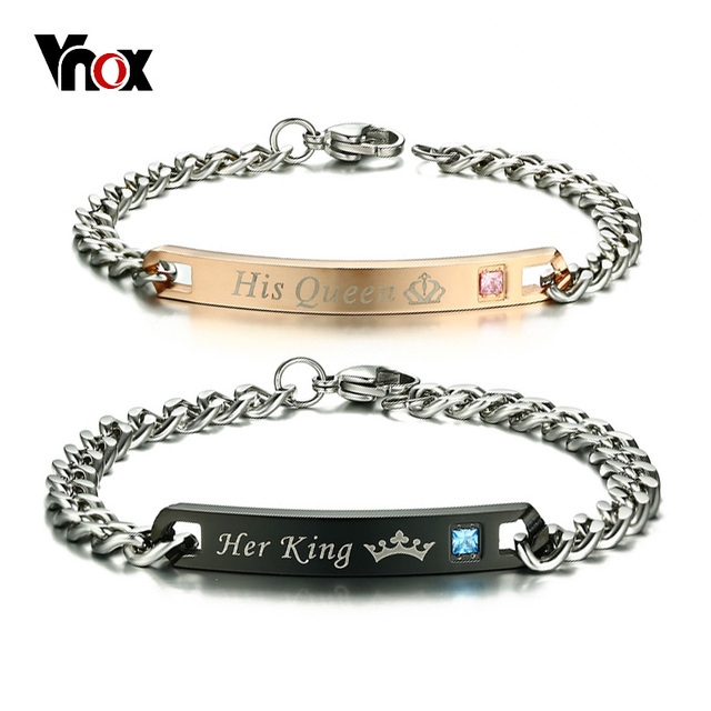 Vnox Free Engraved Diy His Queen Her King Id Bracelet For Women Men Cz Stones