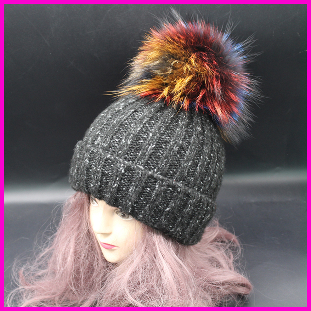 Mink Raccoon Fox Fur Pompom Cap Winter Hats For Women Girls Wool Hat Striped Knitted Cotton Beanies Caps