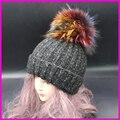 Mink Raposa Pele De Guaxinim Pompom Tampão do Inverno Chapéus Para As Mulheres Meninas Chapéu De Lã de Malha de Algodão Listrado Gorros Tampas