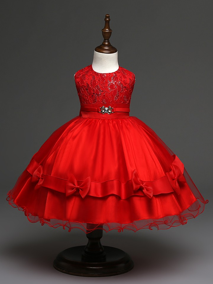 2016 cute baby girl party dress wedding redgold sequin