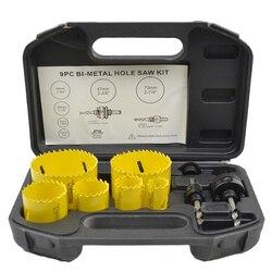 35% OFF 9 PCS 22mm-73mm HSS M3 Loch Sägen Kits Mit Werkzeuge Box, bi-metall M3 sah für metall und holz loch schneiden