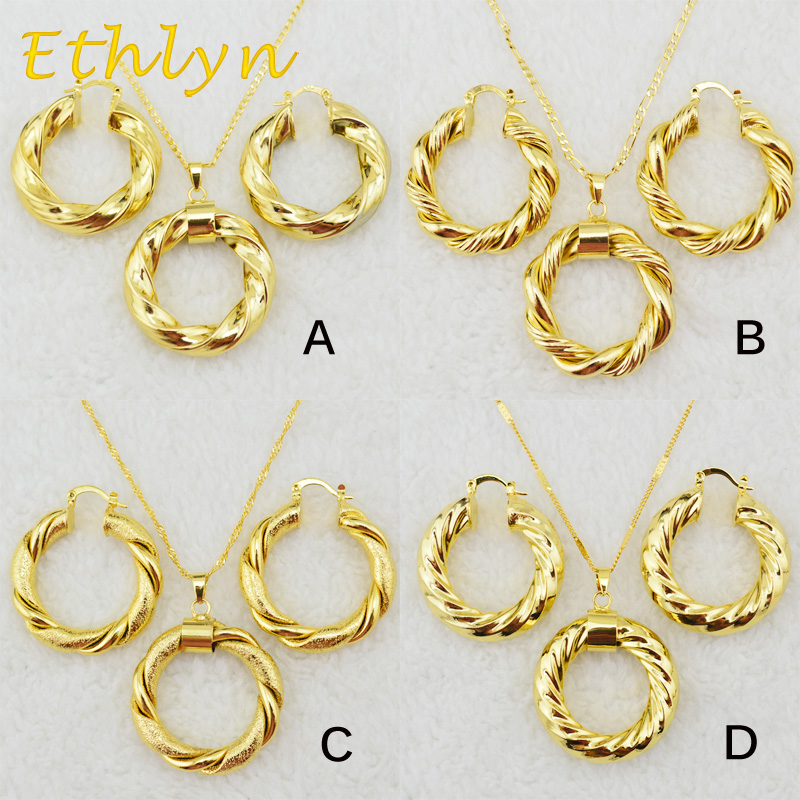 Ethlyn Dubai gold Ethiopian necklace & earrings African sets Gold Color jewellery for Israel/Sudan/ Arab/middle east women S21 Кольцо