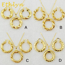 Ethlyn Dubai gold Ethiopian necklace & earrings African sets Gold Color jewellery for Israel/Sudan/ Arab/middle east women S21(China)