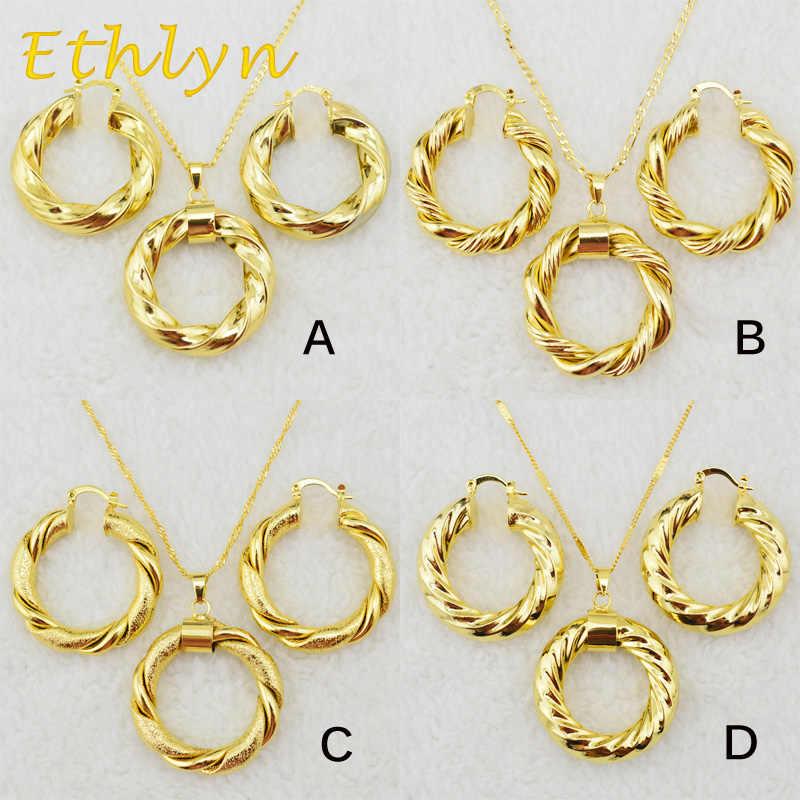 Ethlyn Dubai, collar y pendientes de oro etíope, conjuntos africanos, joyería de Color dorado para Mujeres de Israel/Sudán/Árabe/Medio Oriente S21