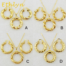 Ethlyn Dubai gold Ethiopian necklace & earrings African sets Gold Color jewellery