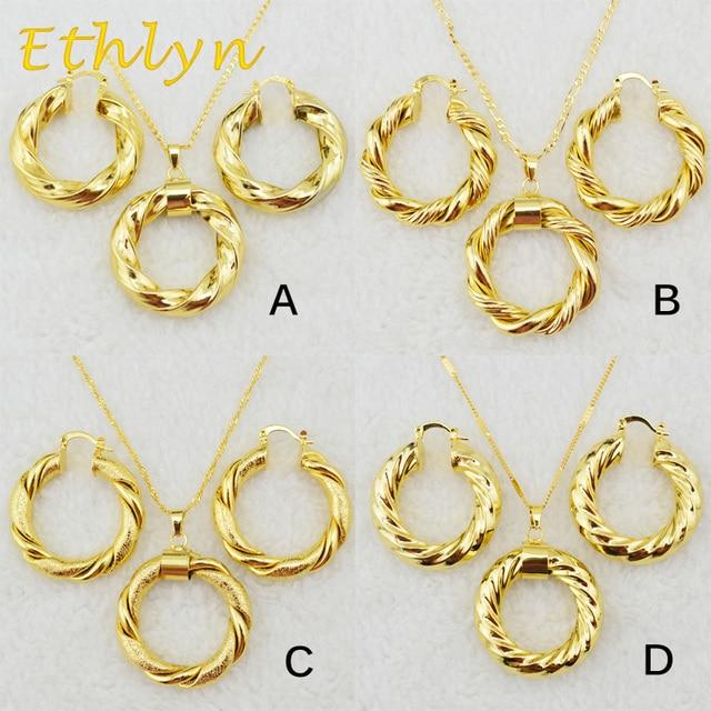 Ethlyn Dubai gold Äthiopischen halskette & ohrringe Afrikanischen sets Gold Farbe schmuck für Israel/Sudan/Arabischen/mittleren osten frauen S21