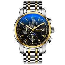 SOLLEN Люксовый бренд часы мужчин спорта мода стол световой многофункциональный гонки мужские Механические наручные часы водонепроницаемые 100 м