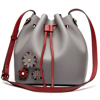 Hot!!! High quality brand handbag bump color bucket bag leisure fashion 100% Genuine leather shopping bag shoulder bag