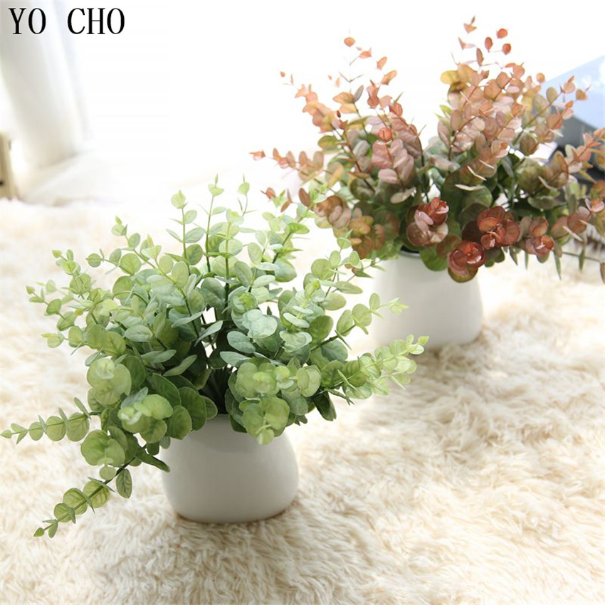 YO CHO DIY Handmade Plastic Grass Wheat Plant Artificial Bouquet For Home Hotel Party Decoration Eucalyptus Leaves Orchid Plants