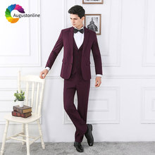 Burgundy Men Suits for Wedding Best Man Blazers Jacket Slim Fit Groom Tuxedos with Pants 3 Pieces Ternos