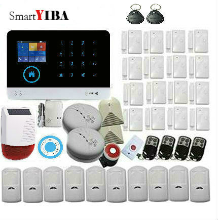 SmartYIBA Touch WIFI GSM Alarm Wireless APP Remote Control Strobe Siren Solar Powered Glass Break Sensor Motion Fire/Smoke Alarm yobang security gsm wifi auto dial home alarm system rfid tags intelligent alarma kits glass break sensor strobe siren sensor