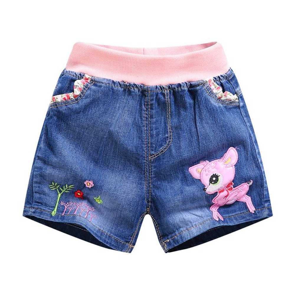 Chumhey 2-7T için bebek kot şort yaz bebek kız sevimli karikatür kısa pantolon yumuşak Denim bebek şort çocuk giysileri yürümeye başlayan giyim