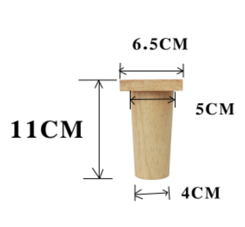 4Pieces/Lot H:11CM  Diameter:4-6.5cm Rubber Wood Sofa Cupboard Legs Feet Furniture Support Foot Parts
