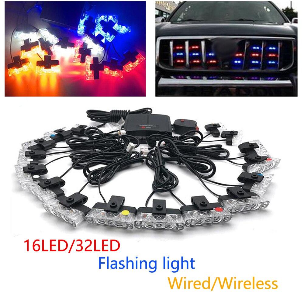 Car Lights Accessories DC 12V Wired/Wireless Car in The Network Strobe Clip Warning Flashing Light LED Police Lights Multi-mode marco pescarolo джинсовые бермуды