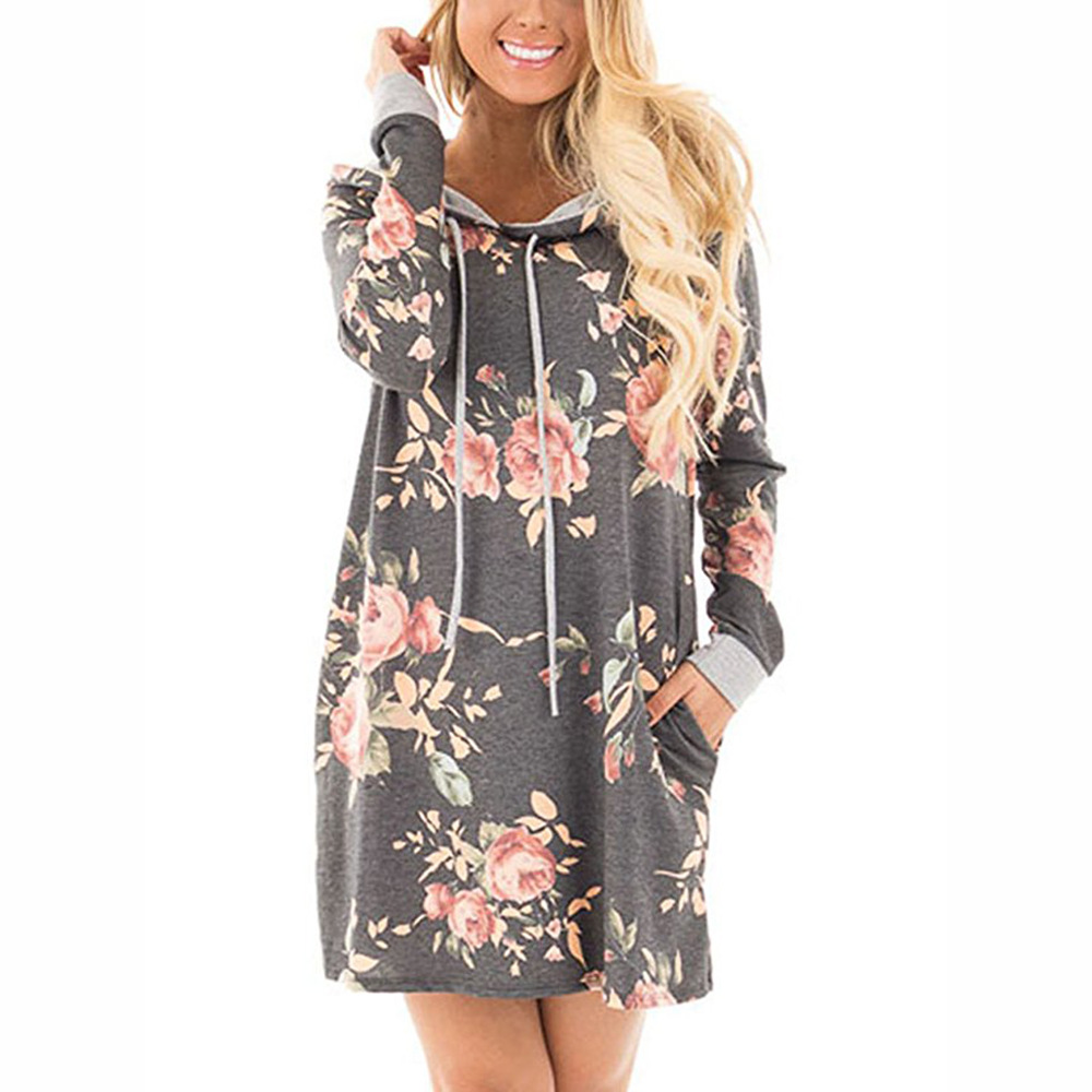 2019 autumn and winter print hooded pocket long-sleeved dress sweater