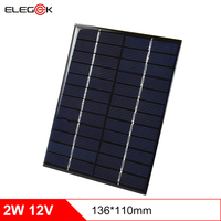 ELEGEEK 2W 12V 166mA Epoxy Resin Laminated DIY Polycrystalline Small Solar Panel Cell for Solar Systemt DIY 136*110mm