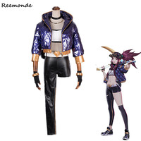 Game LOL KDA AKALI Cosplay Costume Coat Pants Outfit LOL K/DA Akali Hat Caps Mask Synthetic Wigs Hair For Women Girls Clothes