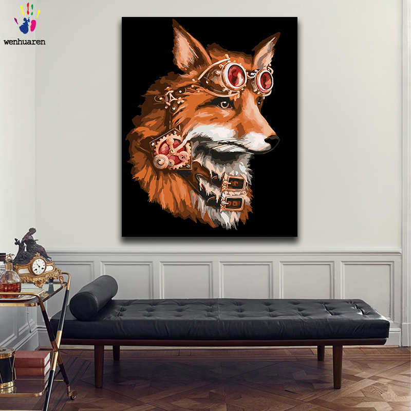 Paint By Number Art Painting By Numbers Fox Living Room Bedroom Decorative Hanging Pictures Handmade Filling And Coloring Gift
