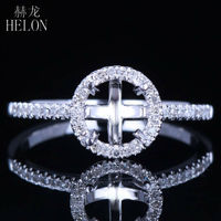 Hot Selling 6MM Round Shape Halo Pave 0 2ct Natural Fine Jewelry Ring Solid 14K White