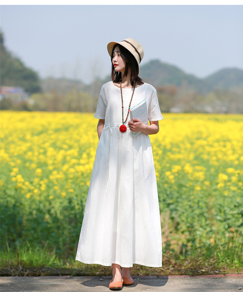 LZJN Women Summer Pullover V Neck and O Neck Loose Drawstring Waist Cotton Linen Long Dress Basic Daily Style White Cool Dress (9)