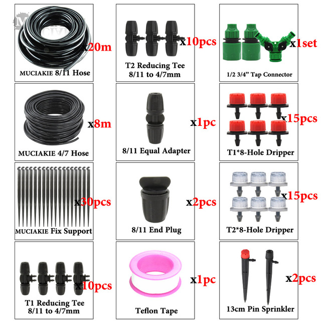 MUCIAKIE 3/8'' Main Line Hose Garden Irrigation System Watering Kits Automatic 2-Way Drip Irrigation Set Adjustable Drippers