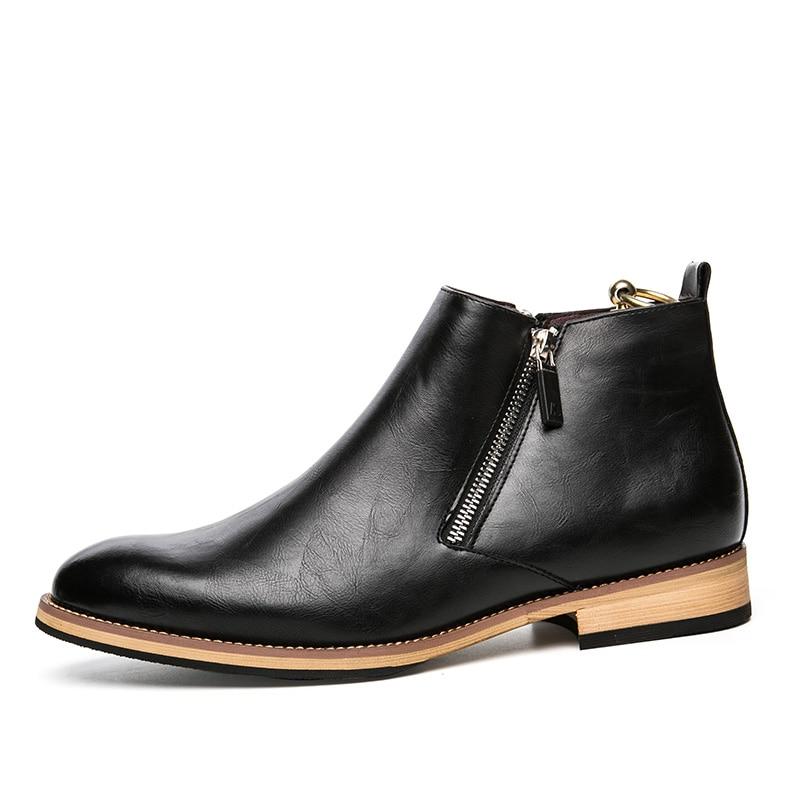 mannen laarzen echt leer mode klassieke zakelijke kantoor formele - Herenschoenen - Foto 2