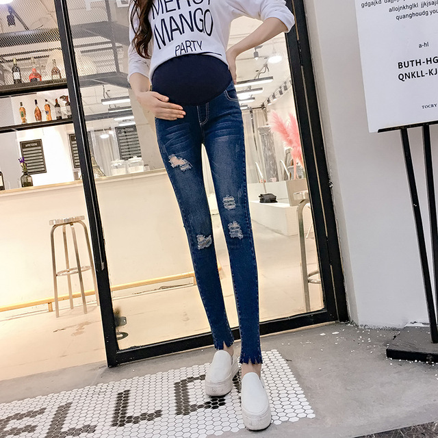 4325fb14c78c3 Maternity Clothes Maternity Belly Jeans Elastic Waist Hole Stretch Denim  Pants Clothes for Pregnant Women Pregnancy Trousers