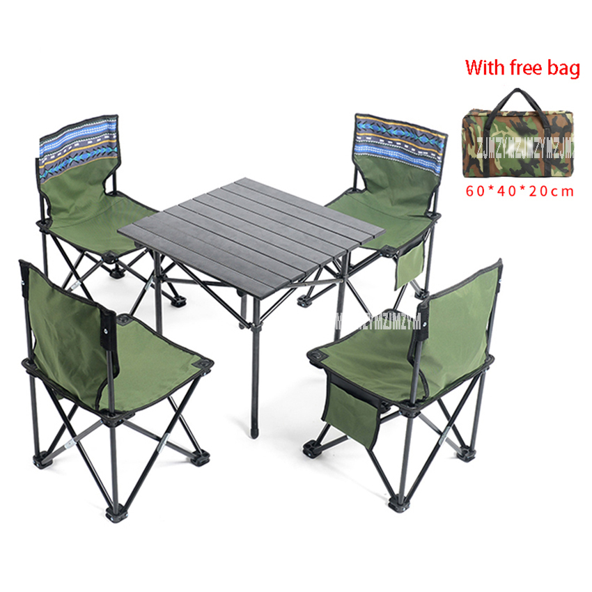 5 in 1 Portable Folding Foldable Oxford Cloth Chair Table Set Outdoor Hiking Fishing Camping Chair For Family Group Picnic seat oxford cloth lightweight 3 in 1 outdoor portable multifunctional foldable cooler bag chair backpack fishing stool chair