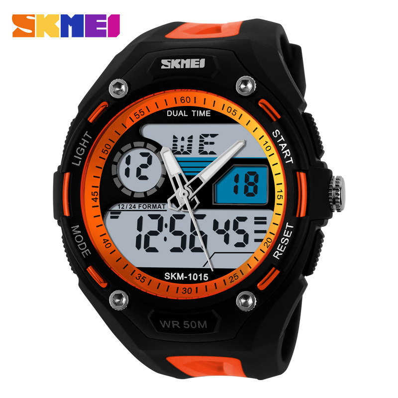 Skmei Brand Young Men Sports Military Watch Fashion Casual Dress Wristwatches 2 Time Zone Digital Quartz LED Watches New 1015