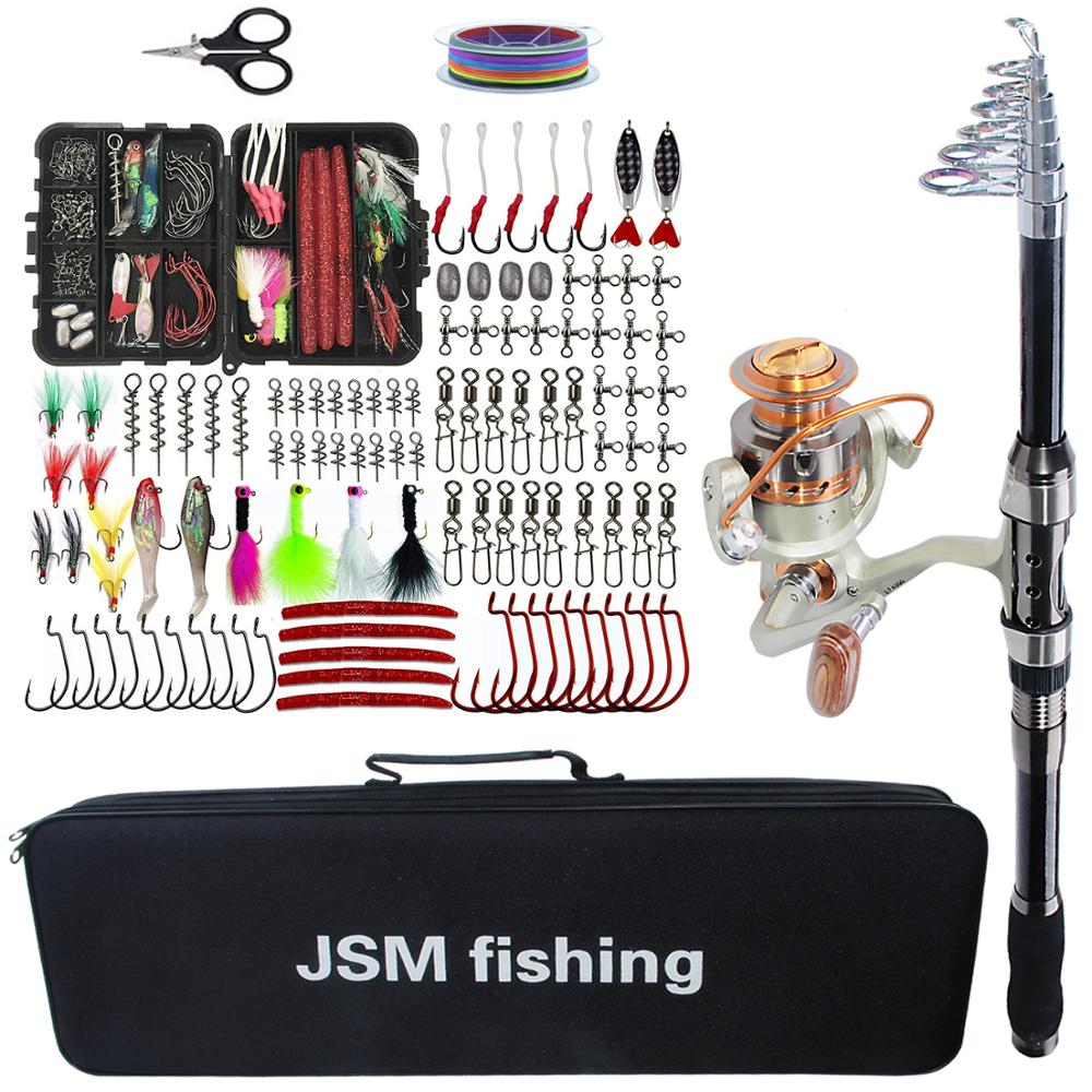 Fishing Rod Combo Tools Kit Spinning Telescopic Fishing Rod Reel Set With Line Lures Hooks Fishing Bag Accessories(China)