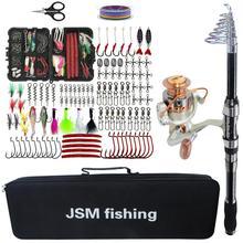 Набор инструментов для рыболовной удочки, спиннинговая телескопическая катушка для удочки, набор с леской, приманки, крючки, рыболовная Сумка, аксессуары
