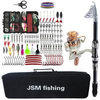 Fishing Rod Combo tools Kit Spinning Telescopic Fishing Rod Reel Set with Line Lures Hooks Fishing Bag Accessories