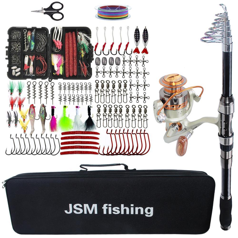 Kit d'outils combinés de canne à pêche ensemble de moulinet de canne à pêche télescopique avec ligne leurres crochets accessoires de sac de pêche