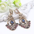 2016 Fashion Turkish Earrings Antique Gold Plating Swinging Pendant Earrings Princess Hook Luxury Women Jewelry Festival Gift