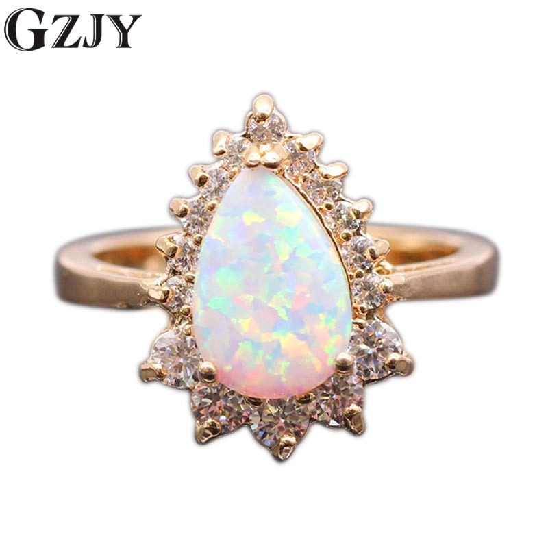 GZJY Beautiful Water Drop White Fire & AAA Zircon Champagne Ring Gold Gold Dasma Për Angazhimin e Grave
