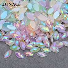 JUNAO 3 6mm 4 8mm Crystal AB Horse Eye Nail Rhinestones Flat Back Mix · 7  Colors Available 9b1c608116b3