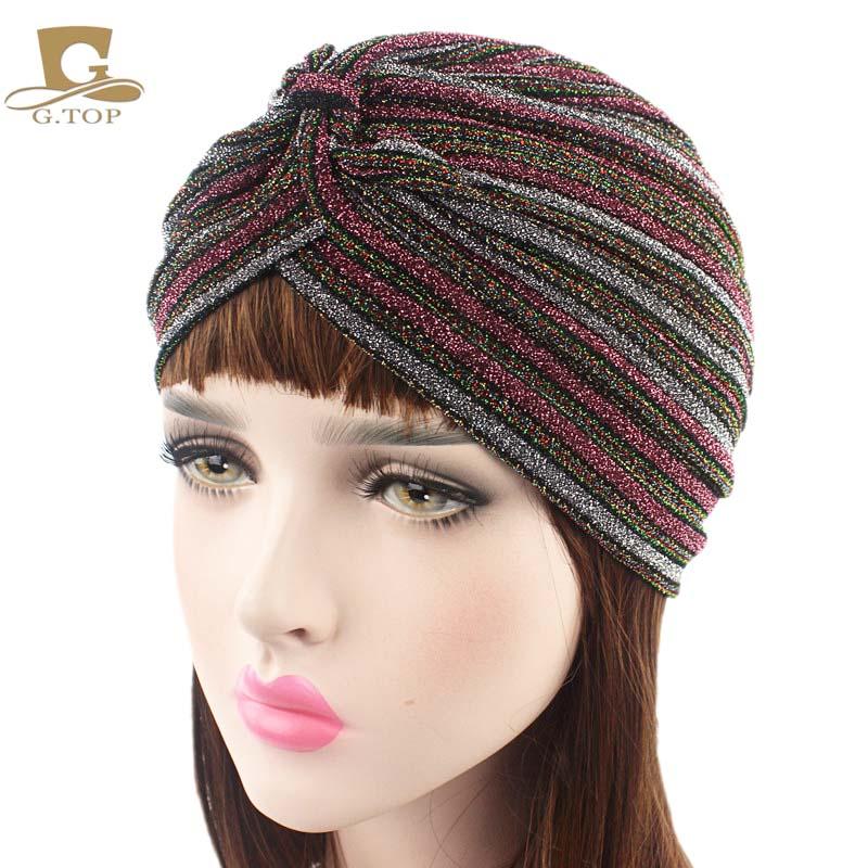 Women striped Shiny Shimmer Glitter Sparkly Turban Hats Hijab cap