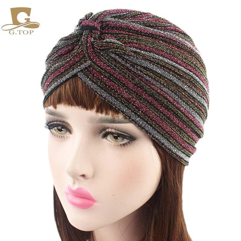 Chemo Hair Wrap Loss Glitter Shimmer Turban Head Band Hat Headgear Cap Hijab hat