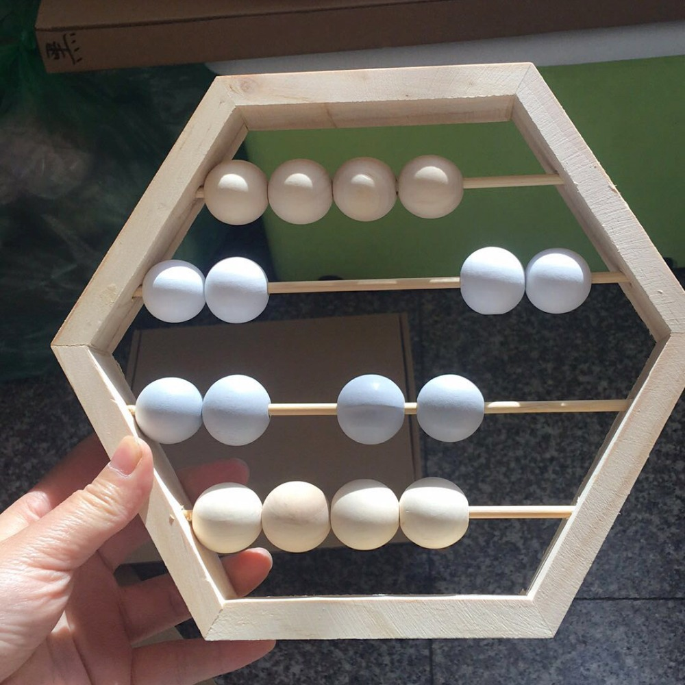 Nordic Style Natural Wooden Abacus With Beads Craft Baby Early Learning Educational Toys Scandinavian Style Baby Room Decor