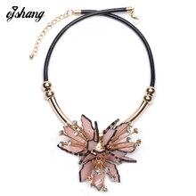 Fashion Flower ZA Necklaces Pendants Women 2016Crystal Choker Jewelry Collares Collier Femme Bib Boho Chocker Maxi Acrylic Resin