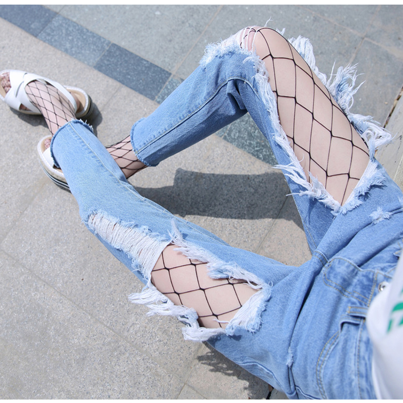 AS47 Womens Hole Denim Casual Gradient Color   Jeans   Vintage Pocket Plus Size Pencil Ripped Skinny   Jeans