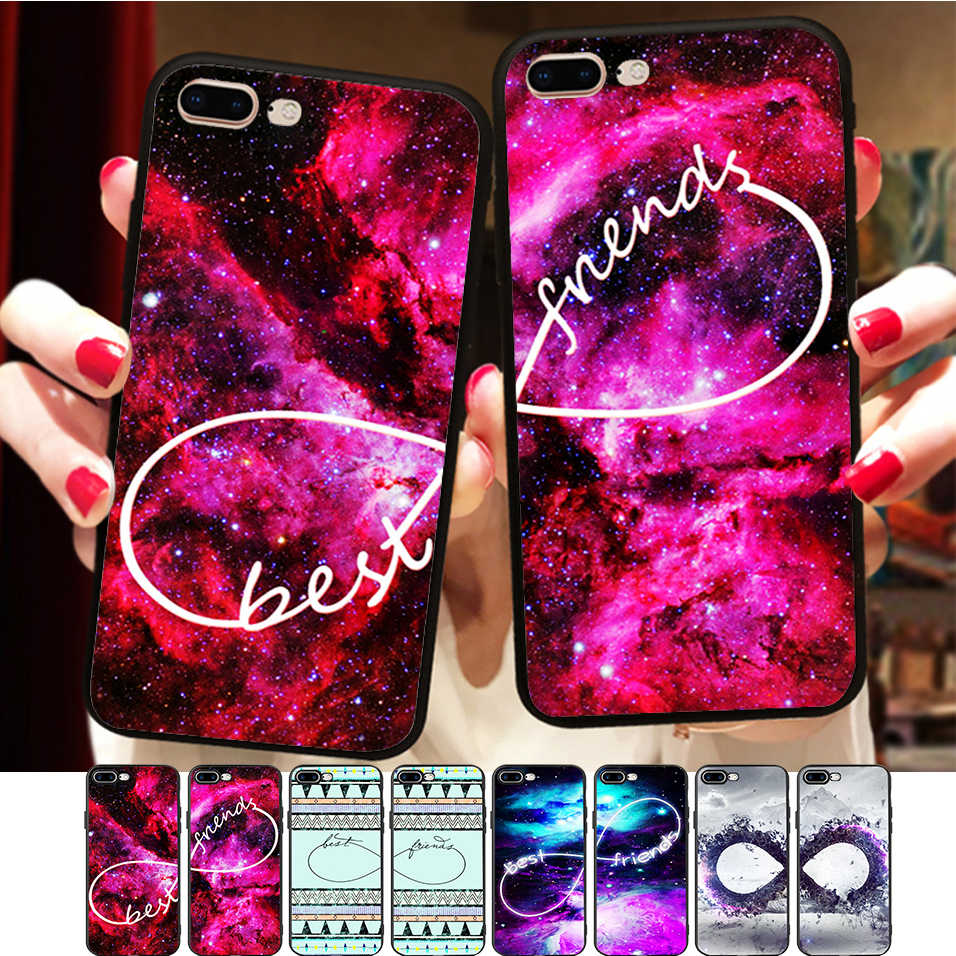 Space Nebula <font><b>Case</b></font> For <font><b>iPhone</b></font> 8 <font><b>Case</b></font> <font><b>BFF</b></font> Silicone Phone Cover Matching Best Friends <font><b>Case</b></font> For <font><b>iPhone</b></font> X 11 Pro 5 6 7 Plus XR XS Max image