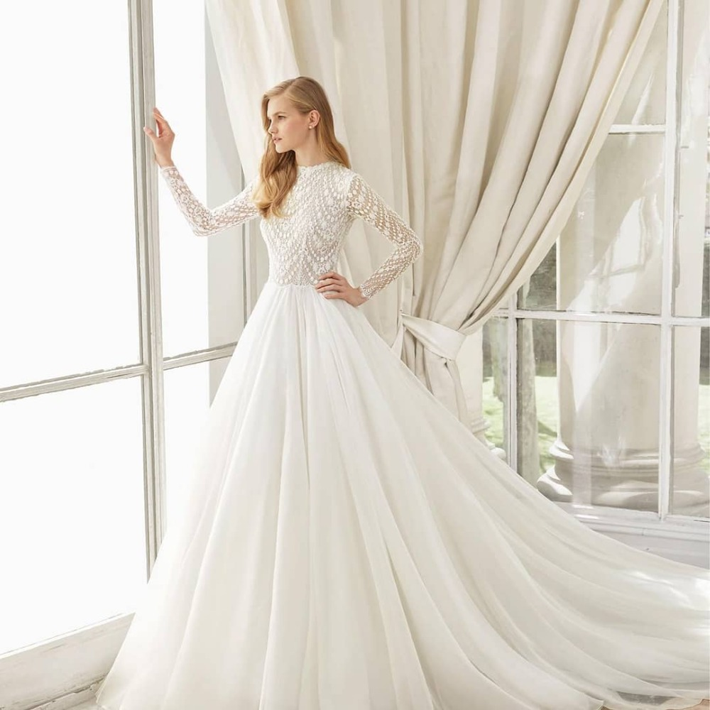 2019 wedding dress Vestido de novia bridal dress Vestido de casamento zipper back court train O neckline high quality HA072