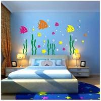 Детская комната мультфильм аниме Подводный мир Рыбы Акриловые 3D объемные наклейки детский сад фоне стены decora