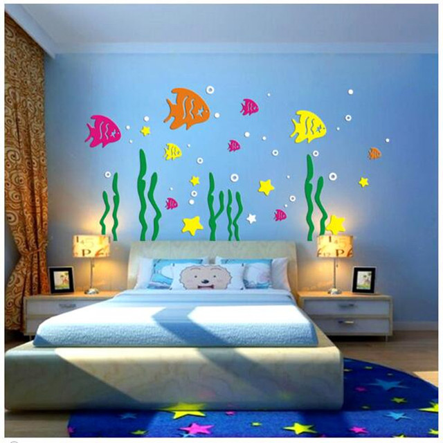 kinderzimmer cartoon anime unterwasserwelt fisch acryl 3d dreidimensionale wandaufkleber. Black Bedroom Furniture Sets. Home Design Ideas
