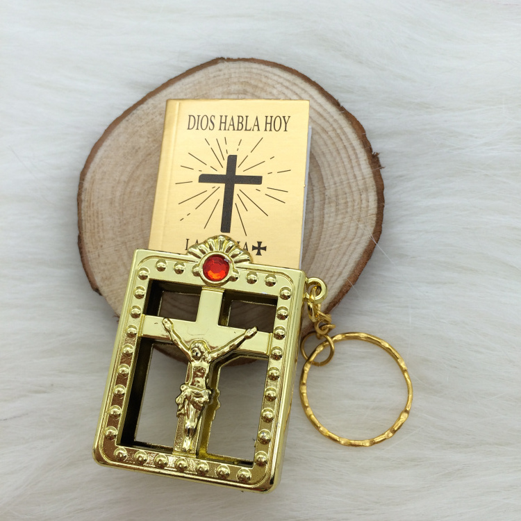 US $71 89 |Jesus Christian Gifts Wholesale Plated Gold Mini Spanish Espana  Version Biblia Llavero Keychain Mini Pocket Bible-in Party Favors from Home