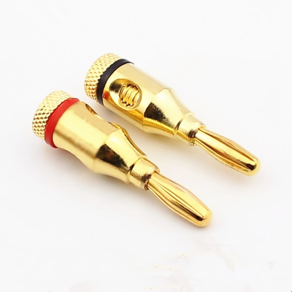 8pcs Banana Connector Copper Gold Plated 4mm Speaker Terminal Audio Plugs Adapter Free Soldering Hifi Banana Plug Amplifier DIY