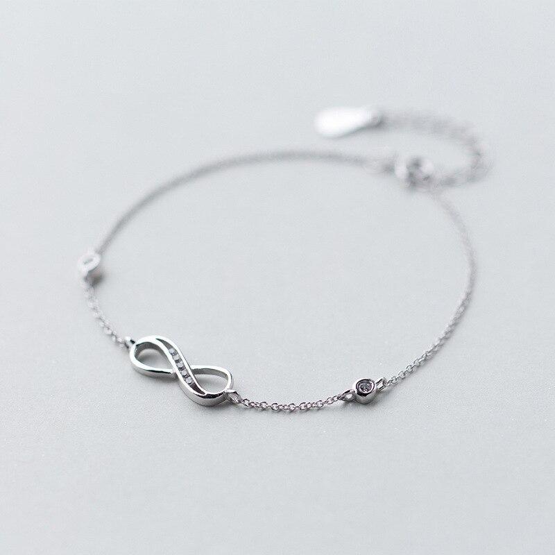 1 Stück Real. 925 Sterling Silber Infinity Symbol Ewige Liebe Knoten Armband Mit Runde Cz Einstellbare Schmuck Für Immer Liebe Gtls308