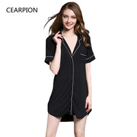 CEARPION Summer Sexy Nightwear Women Sleepwear Modal Soft Home Wear Casual Intimate Lingerie Sexy Boy Style Sleep Shirt Dress