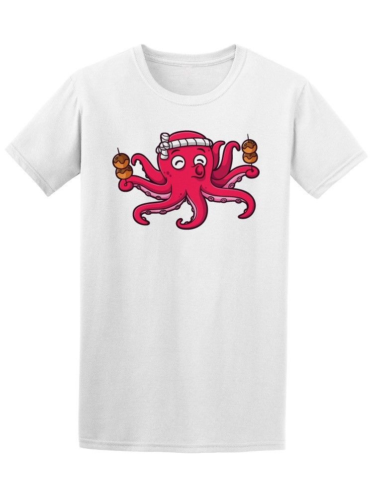 Cartoon Octopus With Takoyaki Men's Tee -Image by Shutterstock Cartoon t shirt men Unisex New Fashion tshirt free shipping